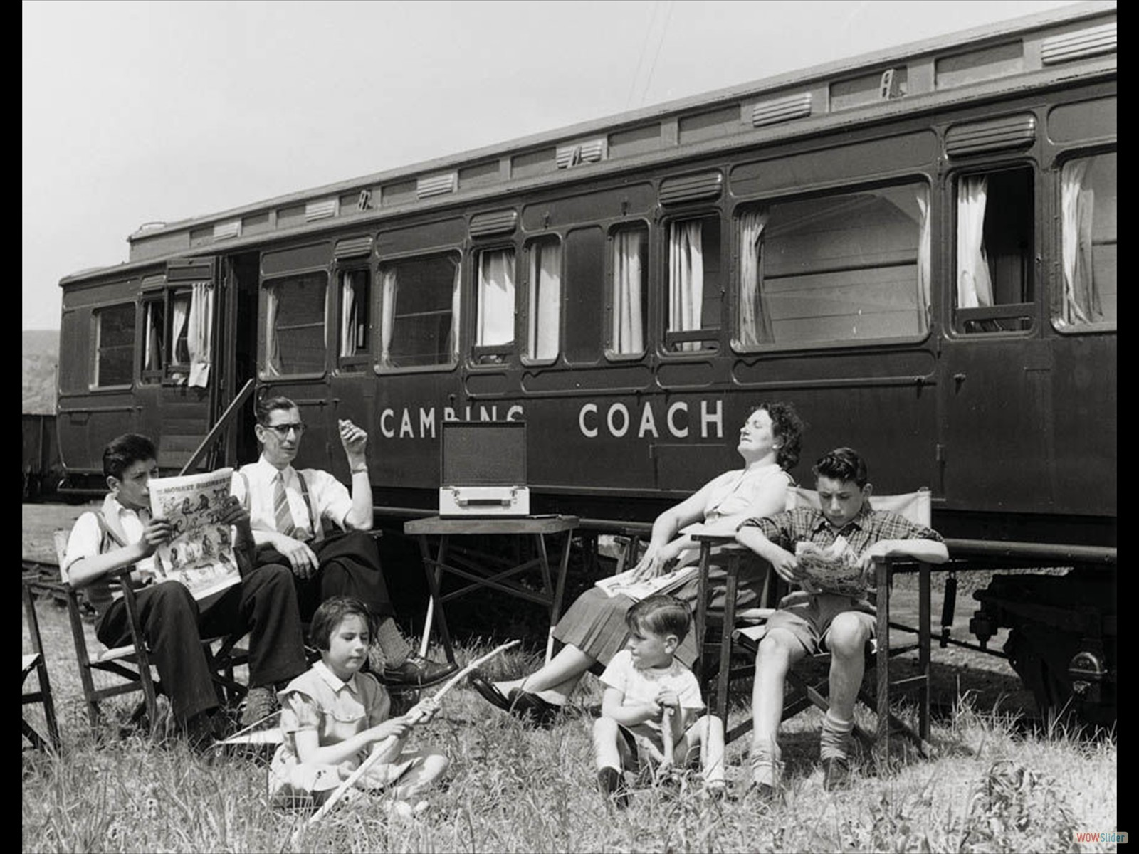 Family holiday in UK railway camping coach 1956
