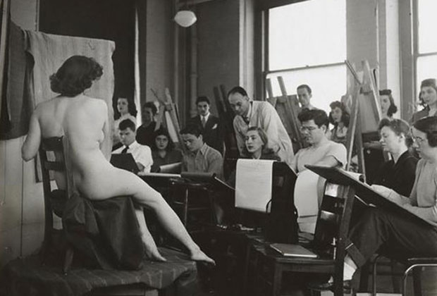 Stanley Kubrick's Students Drawing a Nude in Art Class, Columbia University,1948