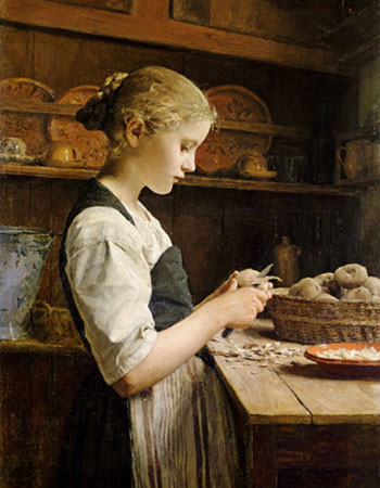 Young girl peeling potatoes